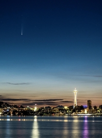 Comet NEOWISE over the Space Needle