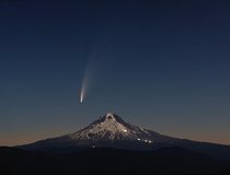 Comet Neowise Rises Over the Lights of Climbers on Mt Hood  x
