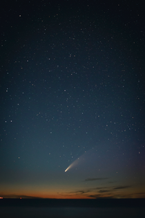 Comet NEOWISE view while camping on Lake Huron