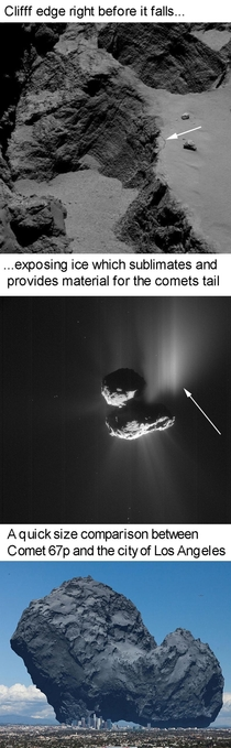Comet p suffers a landslide then shows visible outgassing not too long afterward
