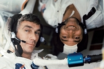 Commander Eugene H Cernan right-side up and Command Module Pilot Ronald E Evans upside-down in Apollo