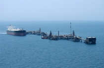 Commercial oil tanker AbQaiq readies itself to receive oil at Mina-Al-Bkar Oil Terminal MABOT an off shore Iraqi oil installation