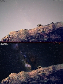 Comparison of  vs  Frames Captured Milky Way even from Bortle - skies This was taken at the Historic Gwalior Fort in India I manually processed and merged  exposures together using a technique called Stacking