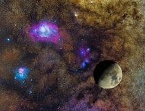 Composite image of the Moon compared to the Lagoon and Trifid Nebulae  hour exposure