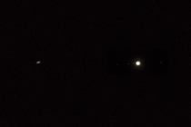 composite of Saturn and Jupiter with its four moons mm reflex lens w x teleconverter on Sony aii
