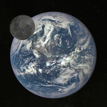 Composition showing difference in brightness between the full Earth and Full Moon