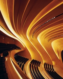 Concert hall in the Heydar Aliyev Center By Zaha Hadid Incredible example of fluid architecture