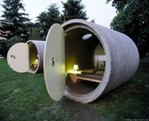 Concrete pipe cabin