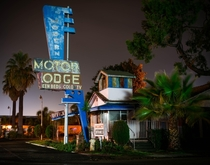 Condemned Retrofuturistic Motel Front Office in Lodi CA