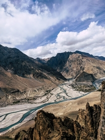 Confluence of Spiti and Pin rivers Spiti Valley India