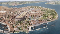 Constantinople capital of the Byzantine Empire Reconstructed view of the Great Palace region circa s