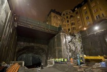 Construction of a new urban commuter rail tunnel Citybanan in Stockholm
