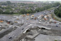 Construction of new intersection in the Netherlands soon to feature  bicycle tunnels under it
