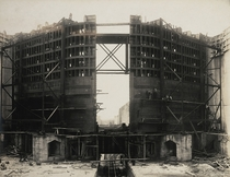 Construction of steel gates of Gatun Lock Panama Canal circa