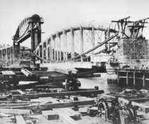 Construction of the Royal Albert Bridge a lenticular iron truss railroad bridge over River Tamar