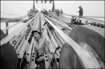 Construction of the Verranzano Narrows Bridges cables Brooklyn NY  by Bruce Davidson