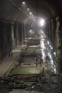 Contractors work on the East Side Access project beneath midtown Manhattan