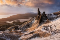Contrast of seasons at the Old Man of Storr