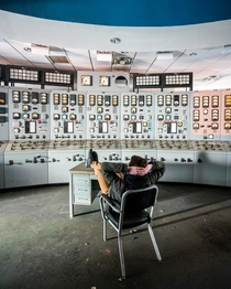 Control room inside an abandoned powerplant