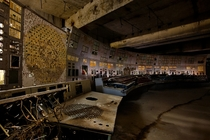 Control room of reactor  at the Chernobyl Nuclear Power Plant Ukraine April