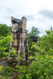 Control tower for abandoned and dynamited dam Pennsylvania   MIC