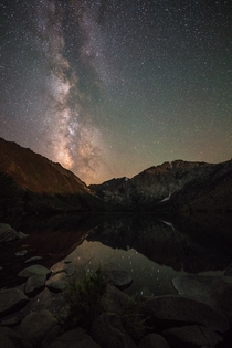 Convict Lake - Beautiful view of the Milky Way shining above and reflecting below OC