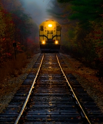 Conway Scenic Railroad in New Hampshires White Mountains on a wet fall day