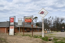 Cool signs at abandoned gas station amp cafe in rural Arkansas