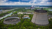 Cooling towers of Chernobyl Nuclear Power Plant reactor  - construction crews showed up for days after the explosion and work was not fully halted until almost exactly one year after the destruction of unit