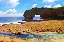 Coral channels and rock formations make up the coastline of this tiny island country  Talava Arches Niue