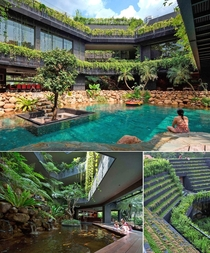 Cornwall Gardens a huge sustainable home in Singapore with a stepped garden on its roof