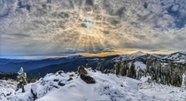 Corona and Crepuscular Rays over the Klamath Mountains of Northern California