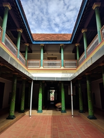 Courtyard of one of the many Chettinad Houses of Karaikudi Tamil Nadu India