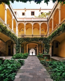 Courtyard of  palau de lloctinent  in Barcelona x