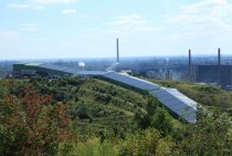 Covered skiing slope on former mining waste deposits in Bottrop Germany