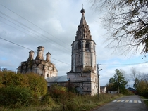 Cracked Spine of Abandoned Orthodox Church - Soligalich Northern Russia - video in comments