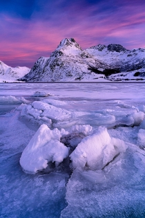 Cracks in the ice Lofoten Islands Norway