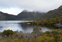 Cradle Mountain shrouded in fog
