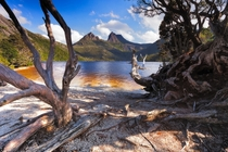 Cradle Mountain with blue sky behind it Tasmania Australia by Steve Arnold