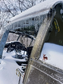 Crashed army helicopter reclaimed by the ice