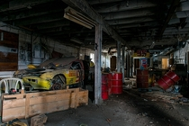 Crashed Race Car in Abandoned Garage