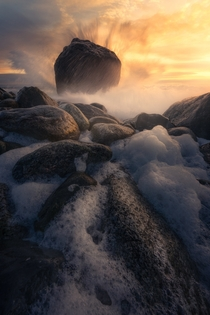Crashing waves during sunset at Mlen Norway