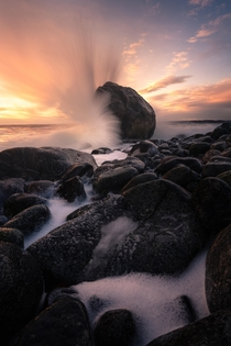 Crashing waves on the coast outside Larvik Norway