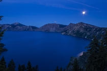 Crater Lake after moon rise