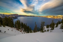 Crater Lake at sunset with a little overcast