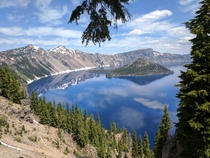 Crater Lake National Park Oregon Non-OC  taken by my friend Doug He doesnt reddit He was okay with sharing this magnificence This is on his behalf