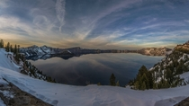 Crater Lake OR - Winter Sunset