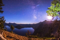 Crater Lake Oregon during the Perseid meteor shower One of my very first panoramas