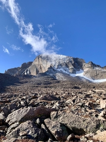 Crawled through this before sunrise all alone Also my first er Boulder Field and Longs Peak