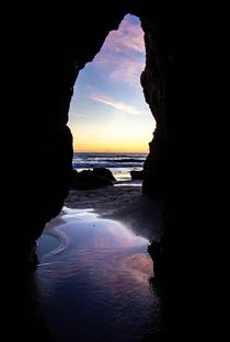 Crawled under a rock formation to shoot my favorite silhouette view El Matador California